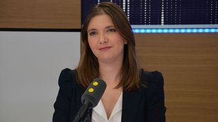 La députée LREM Aurore Bergé sur franceinfo. (JEAN-CHRISTOPHE BOURDILLAT / FRANCE-INFO)