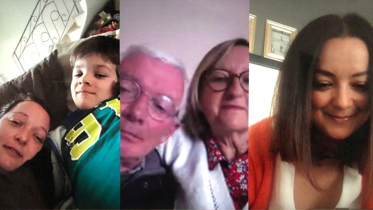 Capture d'écran d'une conversation entre Didier et Anne-Marie, au centre, et leurs deux filles Emilie (à gauche, avec son fils, Thélio) et Marion (à droite). (HOUSEPARTY)