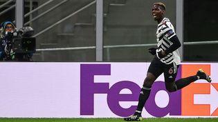 Entré juste après la pause contre l'AC Milan, Paul Pogba a inscrit le but de la victoire et de la qualification en quarts de finale de Ligue Europa pour Manchester United, jeudi 18 mars 2021. (MARCO BERTORELLO / AFP)