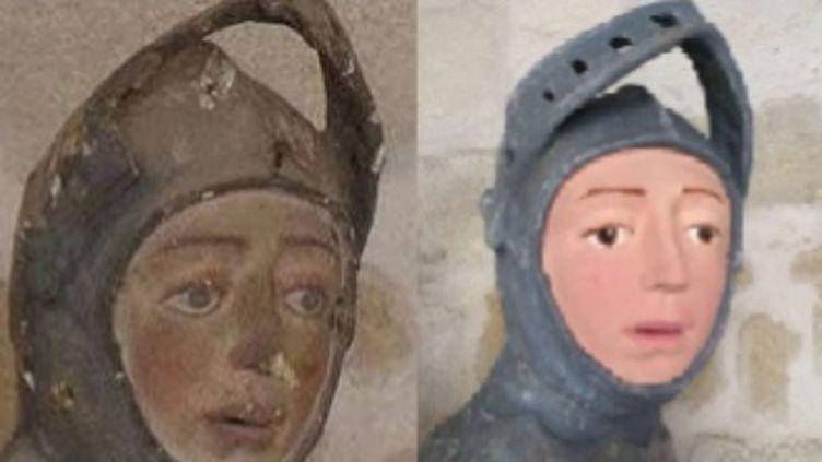 La statue de saint Georges de l'église San Miguel à Estella (Espagne), avant et après sa restauration. (ARTUS / FACEBOOK)