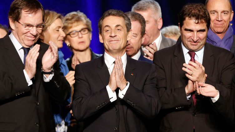 Le président de l'UMP, Nicolas Sarkozy, lors d'un meeting à Dammarie-les-Lys (Seine-et-Marne), le 20 mars 2015. (FRANCOIS GUILLOT / AFP)