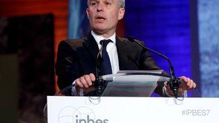 Le ministre de la Transition écologique et solidaire, François de Rugy, lors de la conférence internationale sur la biodiversité (IPBES), le 29 avril 2019 à Paris. (FRANCOIS GUILLOT / AFP)