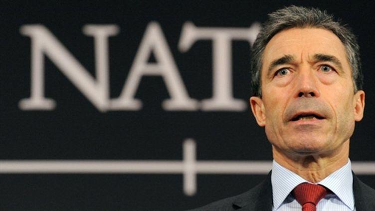Le secrétaire de l'Otan Anders Fogh Rasmussen, le 11 mars 2011 (AFP/JOHN THYS)