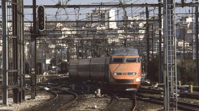 Un TGV sortant de la gare Saint-Charles à Marseille, en mars 1988. (CHRISTIAN SAPPA / GAMMA-RAPHO / GETTY IMAGES)