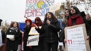 Des femmes manifestent pour l'égalité salariale, à Paris, le 7 novembre 2016. (THOMAS SAMSON / AFP)