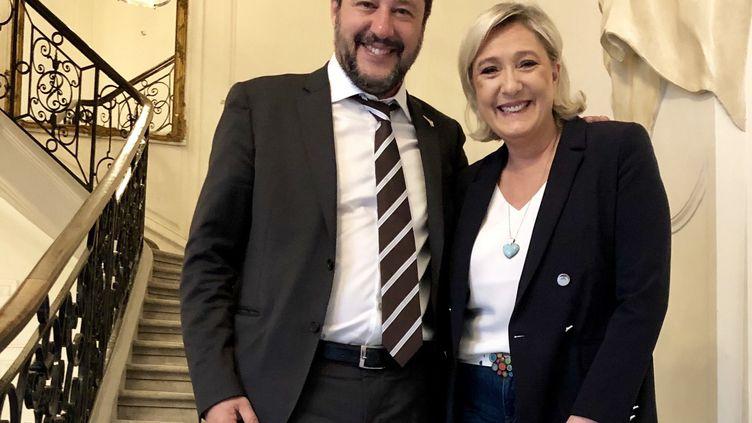 Marine Le Pen a rencontré Matteo Salvini lors de sa visite à Paris pour le G7 des ministres de l'Intérieur. (Compte Twitter Marine Le Pen)