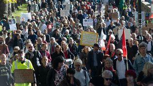 Des manifestants à Nantes, le 23 octobre 2021. (ESTELLE RUIZ / HANS LUCAS / AFP)