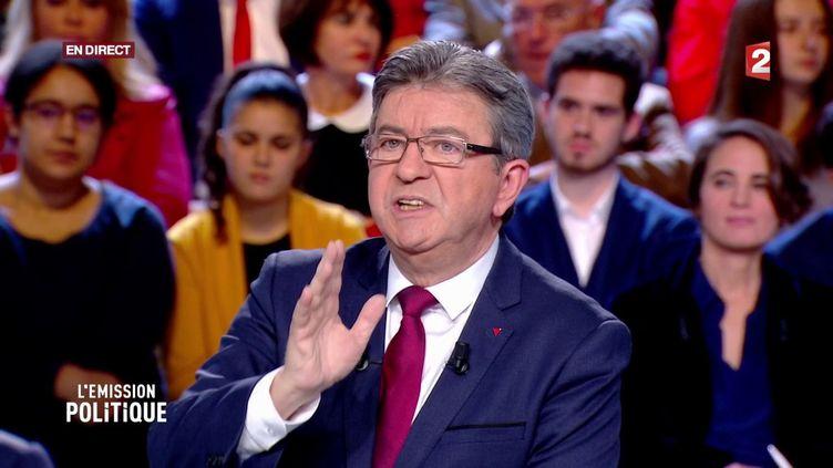 Jean-Luc Mélenchon, le 30 novembre 2017 sur le plateau de L'Emission politique. (FRANCE 2)