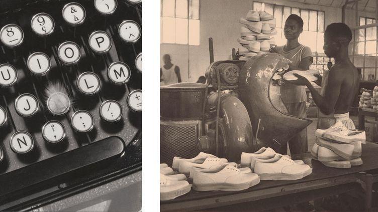 """François Kollar, à gauche Etude publicitaire pour """"Magic Phono"""",portrait de Marie Bell en photomontage, 1930 - à droiteChaussures Bata à Rufisque (Sénégal), 1951, donation François Kollar  (Médiathèque de l'architecture et du patrimoine, Charenton-le-Pont)"""