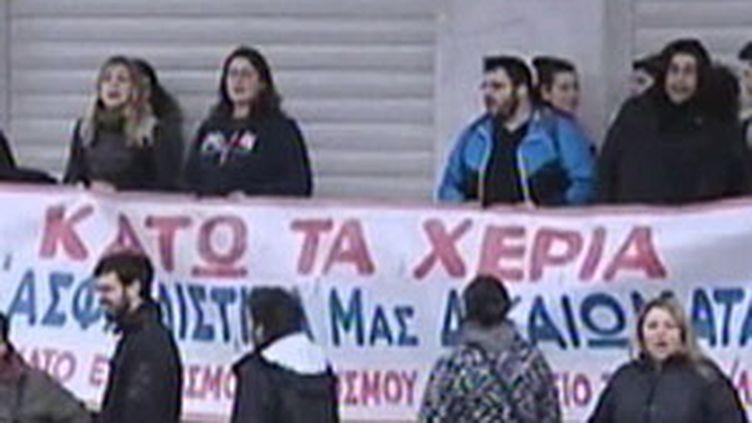 Grèce : manifestation des fonctionnaires, en février 2010 (France 2)