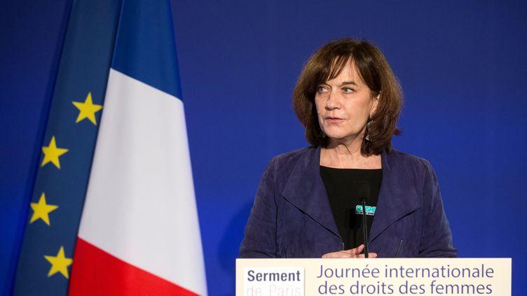 L'ancienne ministre des Droits des femmes, Laurence Rossignol, à Paris le 8 mars 2017. (ETIENNE LAURENT / EPA POOL)