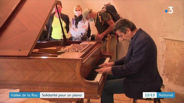 Solidarité : un habitant sinistré de la vallée de la Roya reçoit un nouveau piano