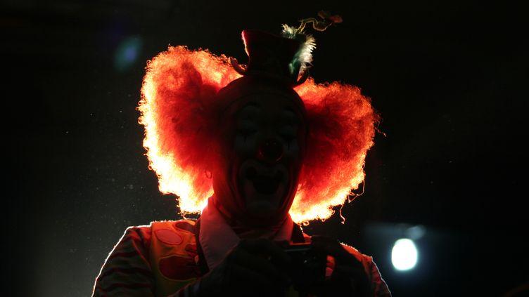 La silhouette d'un clown lors d'un spectacle, à Mexico, le 18 octobre 2006 (photo d'illustration). (TOMAS BRAVO / REUTERS)