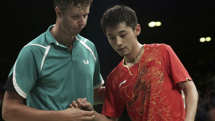 Vladimir Samsonov et Zhang Jike  (? ALKIS KONSTANTINIDIS / REUTER / X03368)