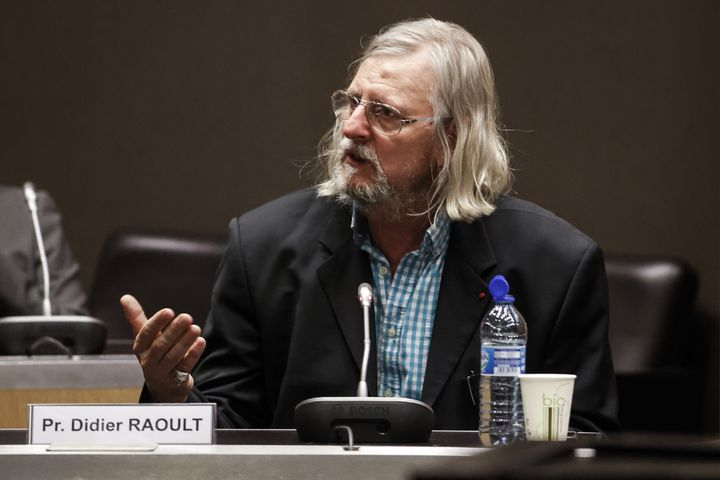 Didier Raoult lors d'une audition devant la commission d'enquêteparlementaire de l'Assemblée nationale sur l'épidémie de coronavirus, le 24 juin 2020, à Paris. (THOMAS COEX / AFP)