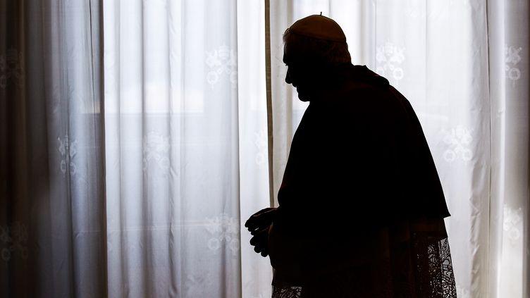 Le pape Benoît XVI après un entretien avec le président du Sri Lanka au Vatican, le 8 juin 2012. (MAX ROSSI / AFP)