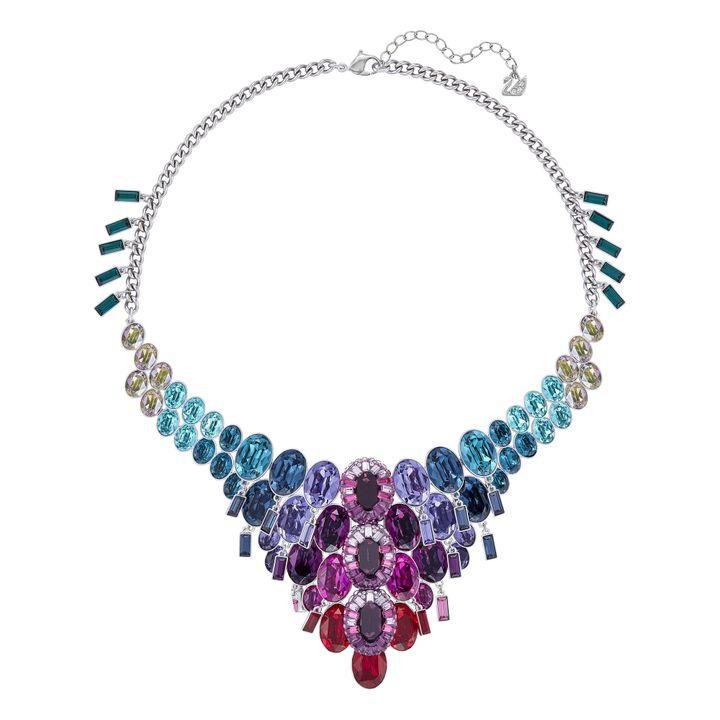 Le collier Eminence évoque avec fantaisie et personnalité la nature sous-marine: des coloris aquatiques et des éléments décoratifs mobiles.   (Swarovski)