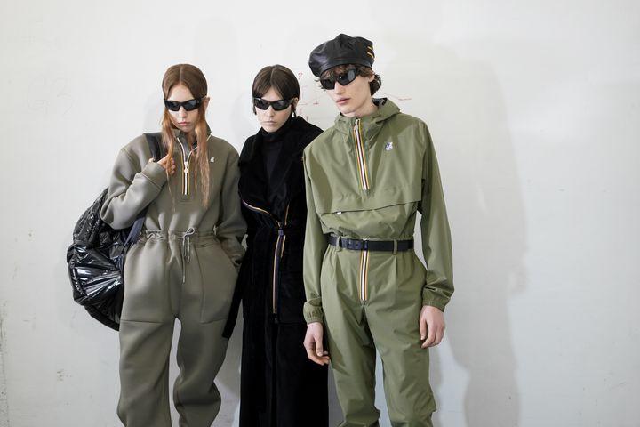 Mannequins en backstage du show K-Way pendant la Milan Fashion Week masculine automne-hiver 2021-22, le 17 janvier 2021 à Milan en Italie (VITTORIO ZUNINO CELOTTO / GETTY IMAGES EUROPE)