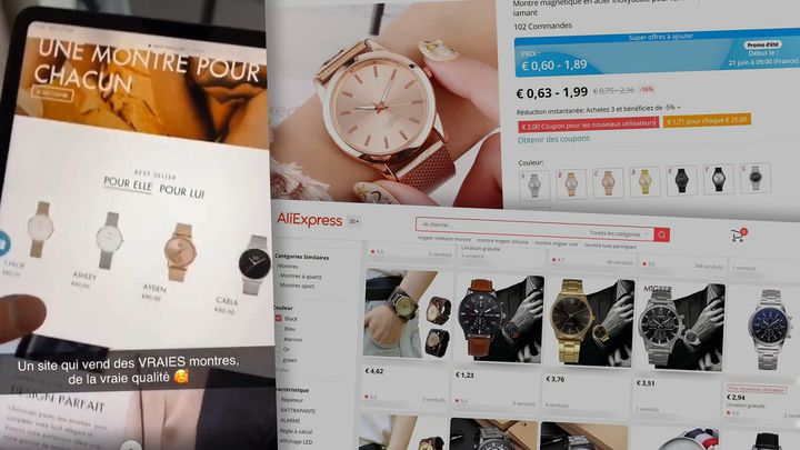 Fausses promotions d'influenceurs pour des montres présentées comme haut de gamme mais bradées sur un site de vente chinois. (CAPTURES D'ECRAN)