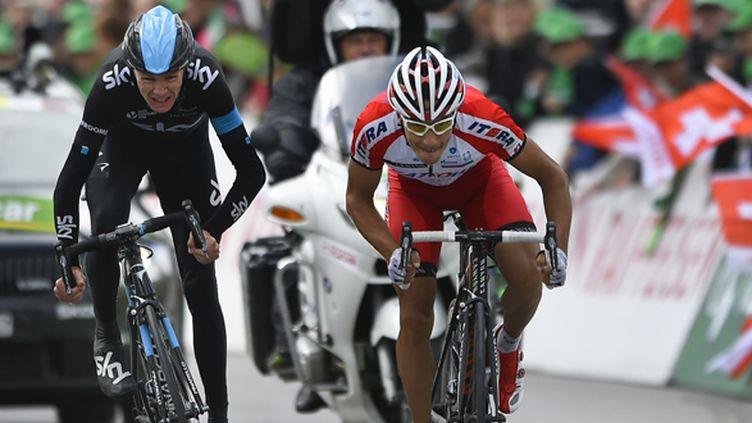 Le vainqueur du Tour 2013 a été battu par Simon Spilak (FABRICE COFFRINI / AFP)