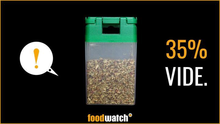 Un visuel dénonçant l'emballage trop vide d'un pot d'épices de la marque Monoprix, réalisé par l'association de défense des consommateurs Foodwatch, dans le cadre d'une campagne rendue publique le 17 septembre 2020. (FOODWATCH)