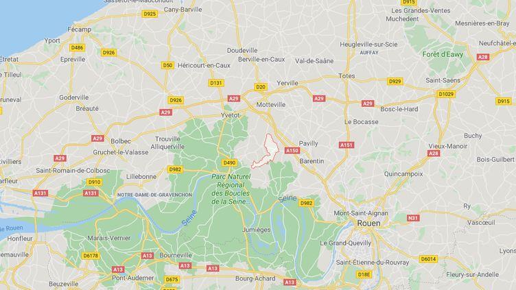 43 communes autour d'Auffay, à une quarantaine de km au nord de Rouen, et de Blacqueville, à 25 km au nord-ouest, sont concernées. (GOOGLE MAPS)