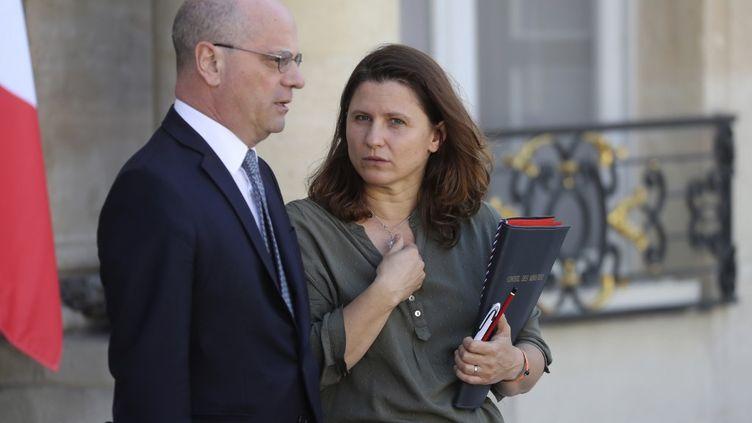 Jean-Michel Blanquer, ministre de l'Education nationale et des Sports, et Roxana Maracineanu, ministre déléguée aux Sports.  (LUDOVIC MARIN / AFP)