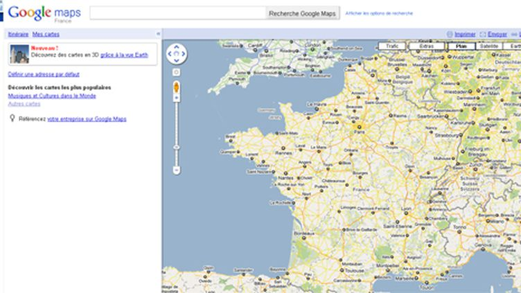 Capture de l'écran d'accueil de StreetView France - 19/05/10 (Street View Google)