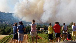 Des habitants assistent impuissants à l'incendie qui frappe la commune d'Artigues (Var), le 25 juillet 2017. (DOMINIQUE LERICHE / MAXPPP)