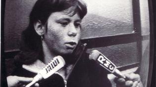 Murielle Bolle face aux journalistes, à Nancy (Meurthe-et-Moselle),en 1984. (MAXPPP)