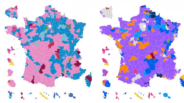 La carte des circonsciptions à l'issue du premier tour des élections législatives de2012 versus lacarte des circonsciptionsà l'issue du premier tour de2017. (FRANCEINFO)