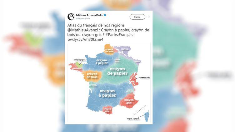 """Capture d'écran d'un tweet d'une carte de linguiste Mathieu Avanzi issu de son livre """"Atlas du français de nos régions"""", aux éditions Armand Colin. (ARMAND COLIN / FRANCEINFO)"""