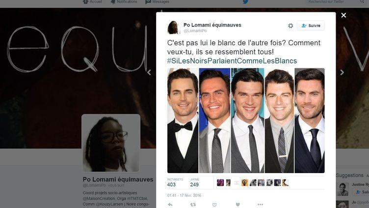 Depuis le 16 février 2015, le hashtag #SiLesNoirsParlaientCommeLesBlancs suscite des tweets ironiques dénonçant des préjugés racistes de la part des Blancs. (LOMAMIPO / TWITTER)