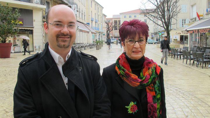 Yann Bompard et Marie-Thérèse Galmard, qui portaient les couleurs de la Ligue du Sud dans le canton d'Orange (Vaucluse), l'ont emporté de justesse. (ILAN CARO / FRANCETV INFO)