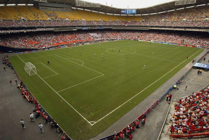 Les tribunes clairsemées du matchde poule de la Coupe du monde entre lesEtats-Unis et la Suède, le 21 septembre 2003 à Washington (Etats-Unis). (DOUG PENSINGER / GETTY IMAGES NORTH AMERICA)