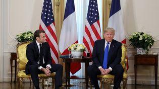 Emmanuel Macron et Donald Trump, le 3 décembre 2019 à Londres. (LUDOVIC MARIN / AFP)