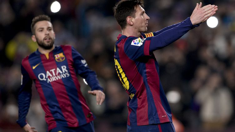 Buteur face à l'Atletico dimanche, Lionel Messi a montré la voie aux siens.  (JOSEP LAGO / AFP)