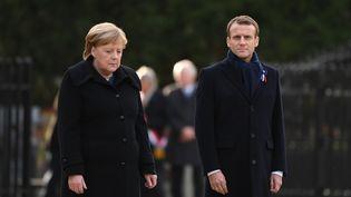 Angela Merkel et Emmanuel Macron à Rethondes, le 10 novembre 2018. (ALAIN JOCARD / AFP)