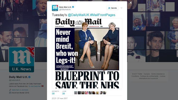 """Capture d'écran du tweet de l'édition britannique du """"Daily Mail"""" montrant la une du 28 mars 2017. (TWITTER.COM/DAILYMAILUK)"""