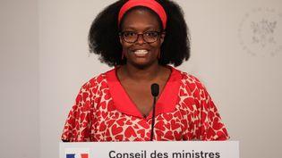 La porte-parole du gouvernementSibeth NDiaye, le 17 juillet 2019, lors du compte-rendu du conseil des ministres. (LUDOVIC MARIN / AFP)