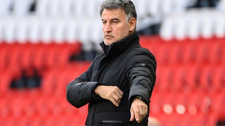 Christophe Galtier lors de la rencontre PSG - Lille, le 3 avril 2021.  (FRANCK FIFE / AFP)