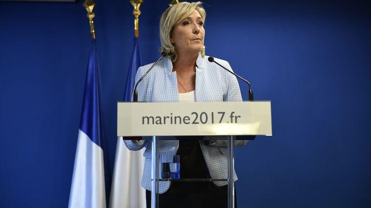 La présidente du Front national, Marine Le Pen, le 9 novembre 2016 au siège du parti à Nanterre (Hauts-de-Seine). (MARTIN BUREAU / AFP)
