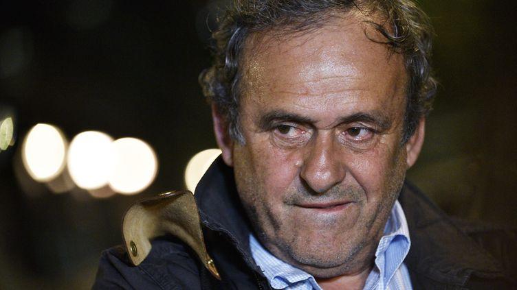 Michel Platini après sa garde à vue le 18 juin. (JULIEN DE ROSA / EPA)