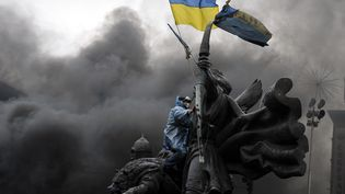 Un manifestant à Kiev brandit un drapeau ukrainien, le 20 février 2014. (LOUISA GOULIAMAKI / AFP)