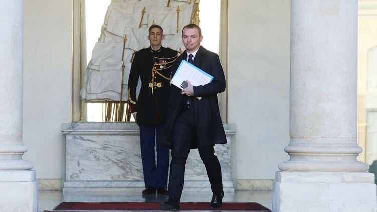 Olivier Dussopt, secrétaire d'Étatauprès du ministre de l'Action et des Comptes publics, à la sortie de l'Élysée en 2018. (LUDOVIC MARIN / AFP)