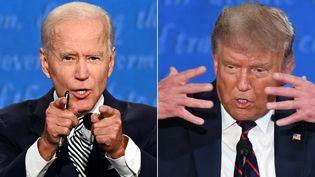 Joe Biden et Donald Trump, lors de leur premier débat télévisé le 29 septembre 2020 à Cleveland, Ohio. (JIM WATSON / AFP)