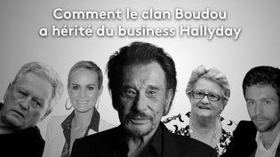 André Boudou, Laeticia et Johnny Hallyday, Elyette et Grégory Boudou. (FRANCEINFO)