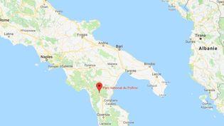 Au moins huit randonneurs ont été tués, lundi 20 août, dans la crue soudaine du Raganello, un torrent du parc national du Pollino situé en Calabre, dans le sud de l'Italie. (GOOGLEMAPS)