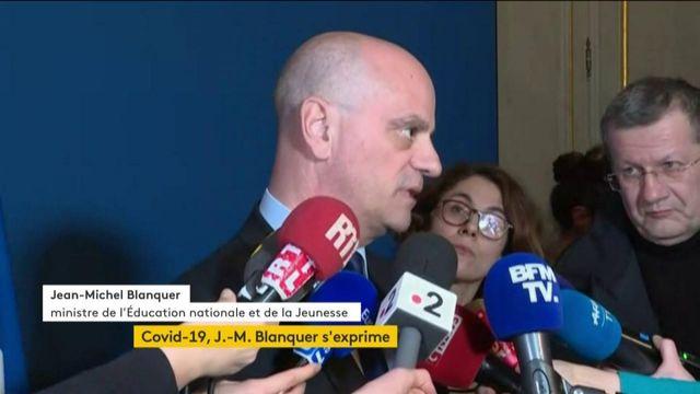 Jean-Michel Blanquer s'exprime sur la fermeture des écoles à cause du coronavirus