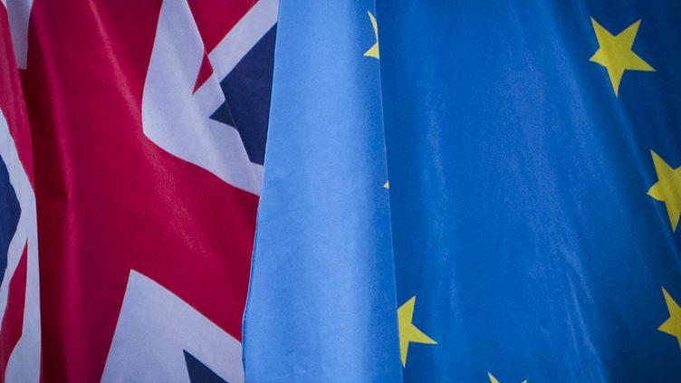 Un drapeau britannique et un drapeau européen à Manchester en janvier 2018  (Benjamin Furst / Hans Lucas / AFP)